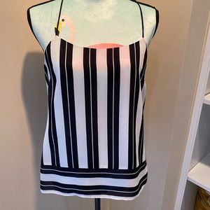 Navy and white silk top